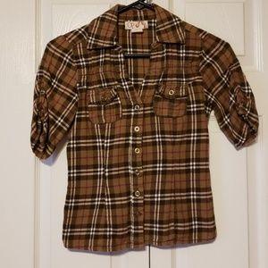 OP Plaid button up blouse